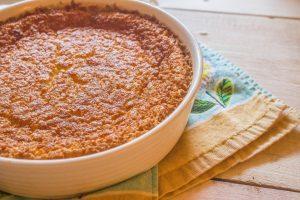 Egg Custard Pie. A one bowl egg custard pie that makes its own crust.