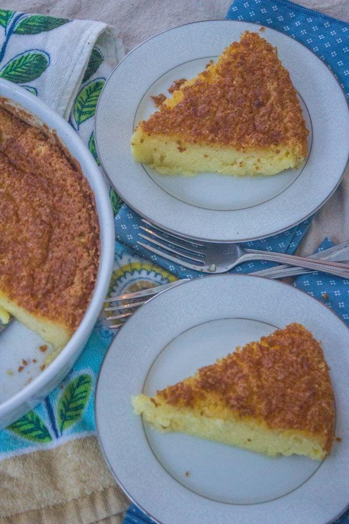 Egg Custard Pie on plates.
