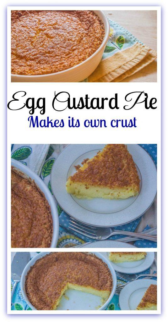 Egg Custard Pie in baking dish.