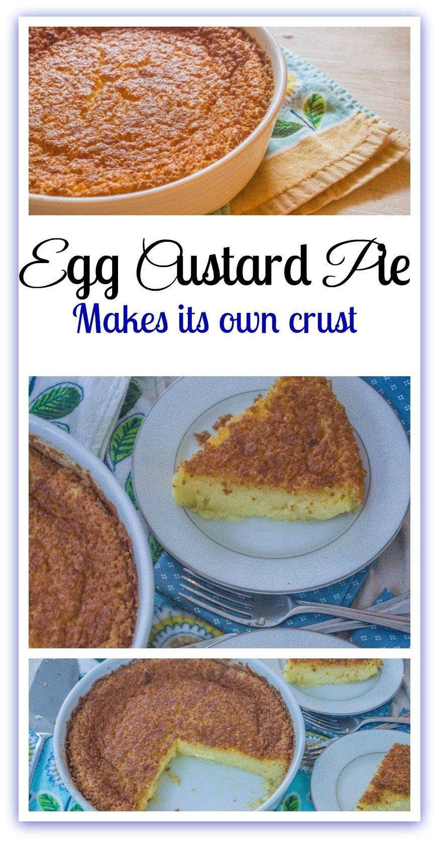 Egg Custard Pie only requires one mixing bowl and makes its own crust. #CustardPie #Desserts