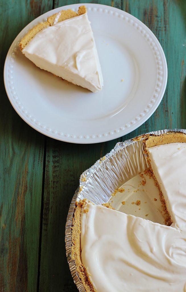 Pink Lemonade Pie. No bake, three ingredient pie in a premade graham cracker crust.