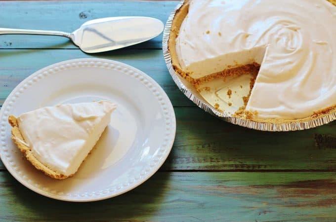 Pink Lemonade Pie. A no-bake, three ingredient pie in a premade graham cracker crust.