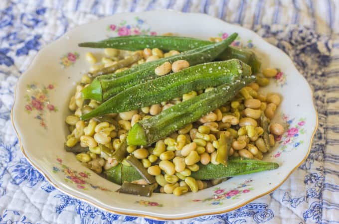 Southern Field Peas and Okra. This variety shown is zipper peas. Cooked simply with smoked meat, okra , salt and pepper. The crown jewel of Southern summer vegetables.