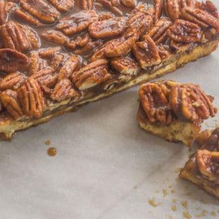 Williamsburg Inn Pecan Bars. A pecan pie like filling seated on top of a lemony shortbread crust.