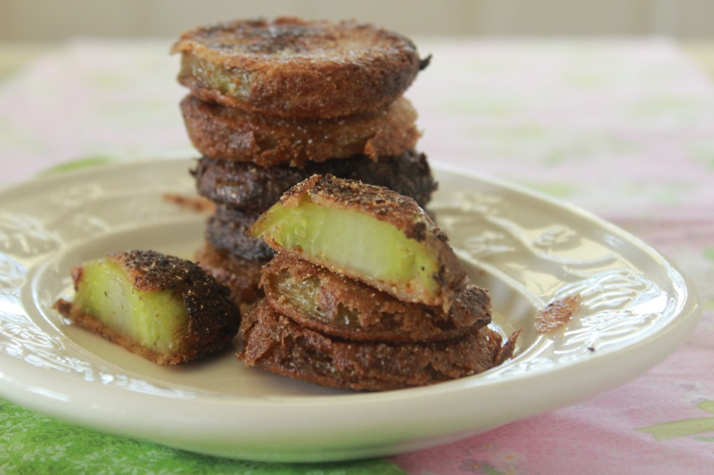 Fried Green Tomatoes.  They live up to the hype. We love them as much as tomato sandwiches with mayo on white bread.
