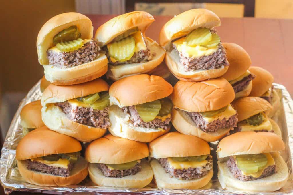 Copycat Krystal Hamburgers on platter.