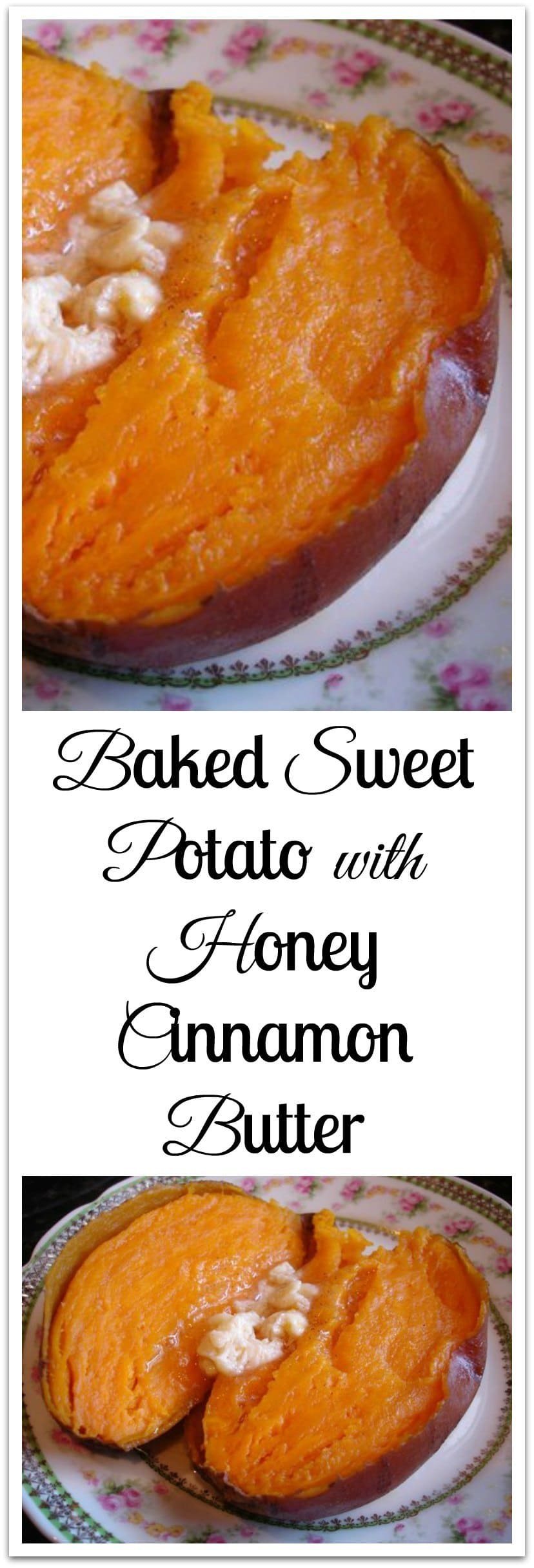 Baking sweet potatoes on a low temp for a longer period of time really helps develop the flavor. I baked these on 300 degrees for a couple of hours until they were soft. Serve with Honey Cinnamon Butter. #SweetPotatoes #HoneyCinnamonButter