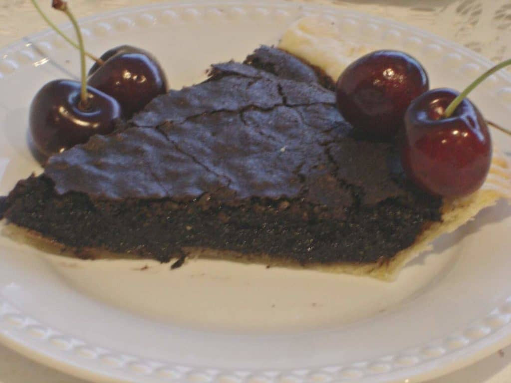 Chocolate Fudge Pie. A chocolate pie with a brownie-like consistency.