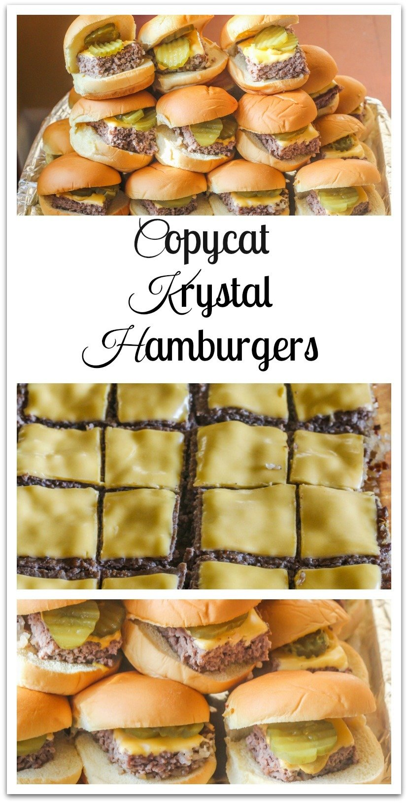 As we munched on the simple  little square hamburgers that had  a beef patty, cooked onions, dill pickle, mustard and a steamed bun, we would talk about our day at school. #Hamburgers #CopycatKrystal
