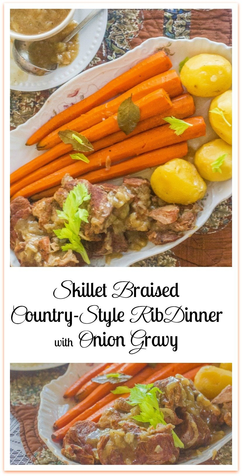 let's talk about  the Skillet Braised Country-Style Rib Dinner with Onion Gravy that I  fixed in my Lodge cast iron skillet.  It's a one pot skillet meal that's  so good it will make you want to swallow your tongue. The pork is tender like butter and the gravy has a flavor you'll crave for the rest of your natural life. #SkilletBraised #CountryStyleRibDinner