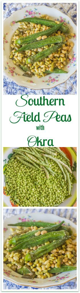 Southern Field Peas and Okra in bowl.