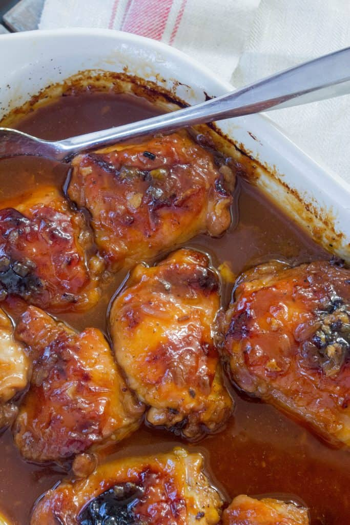 4 ingredient sweet and tangy chicken in a baking dish.