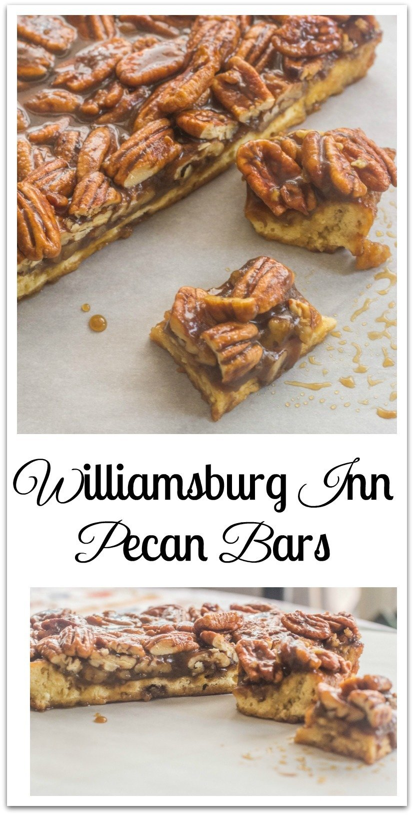 I found many interesting dishes and several we ordered in the taverns. The recipe that caught my attention right away was Williamsburg Inn Pecan Bars. It's a pecan pie like filling sitting on a lemony shortbread crust. #PecanBars #FavoriteRecipes