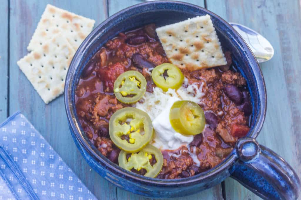 Beef and Bean Chili. Hardy and filling. Made with ground beef, aromatics and ordinary pantry items.