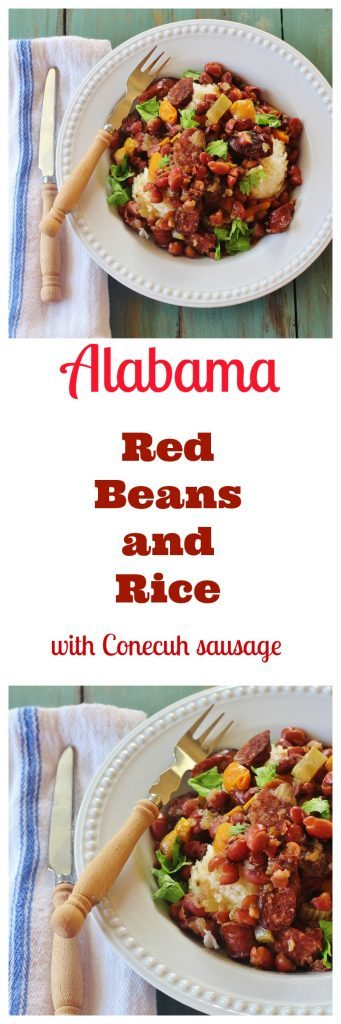 Alabama-style Slow Cooker Red Beans and Rice in bowls.