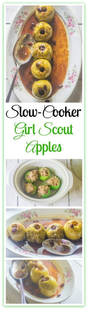 Slow-Cooker Girl Scout Apples. Granny Smith apples, cored and filled with a mixture of butter, brown sugar, raisins and cinnamon and cooked in a slow cooker.A version of baked apples I learned in Girl Scouts.