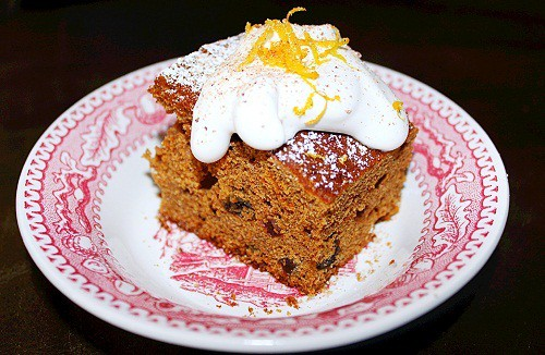 Mary Washington's 1784 Gingerbread Cake. A favorite of George Washington made by his mother, Mary. Gingerbread cake made with raisins, orange juice, molasses and spices.