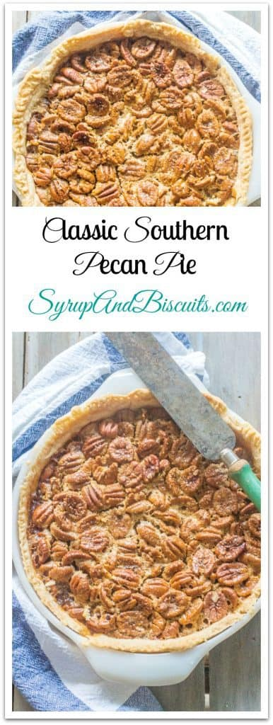 Classic Southern Pecan Pie. A Southern favorite make with pecans baked in a syrupy filling.