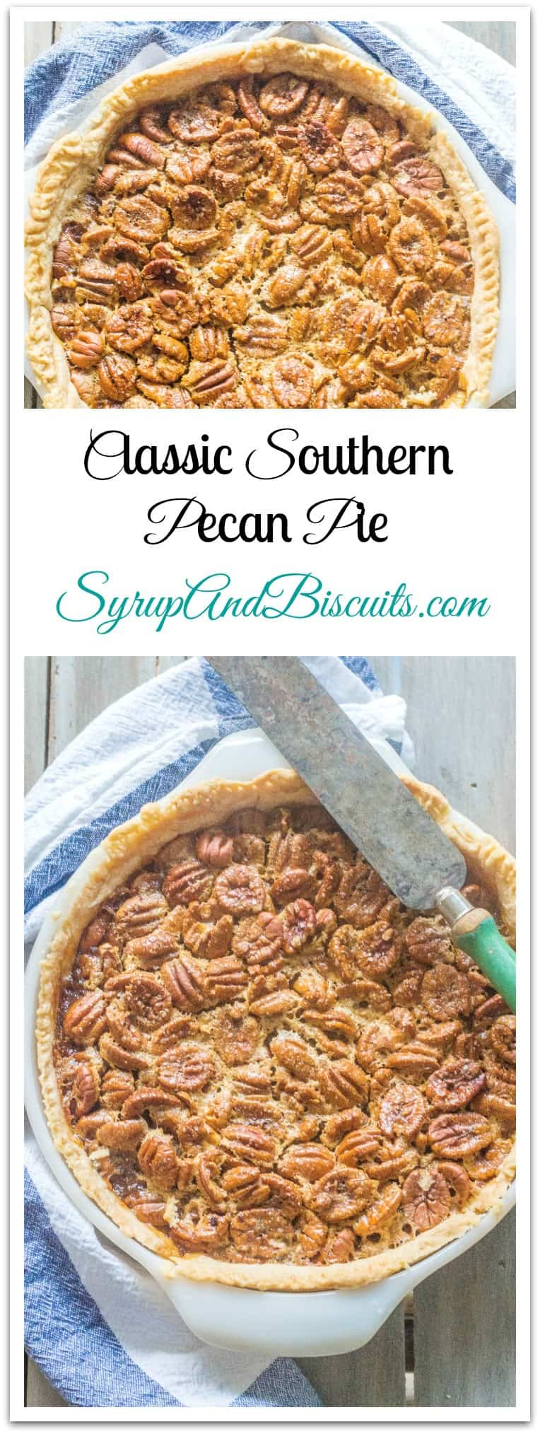 Classic Southern Pecan Pie is a favorite pie made with pecans that are baked in a syrupy filling. #PecanPie #SouthernPie