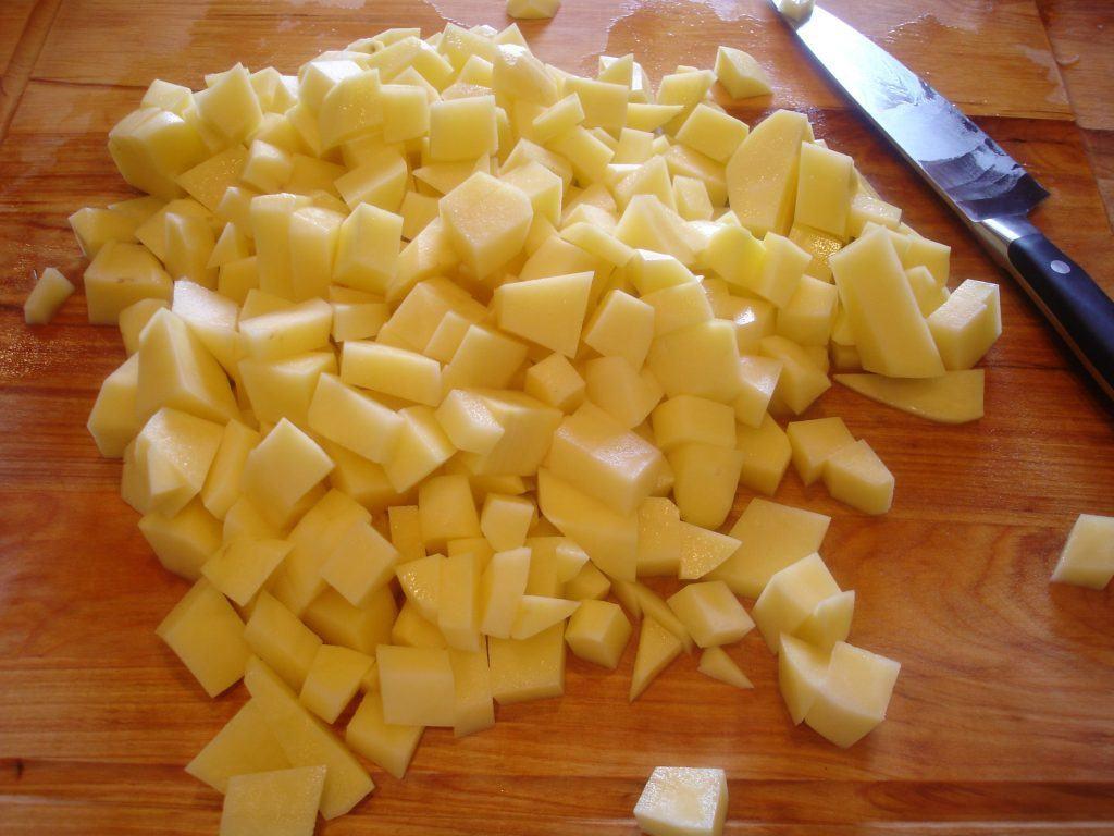 Peeled and chopped yukon potatoes
