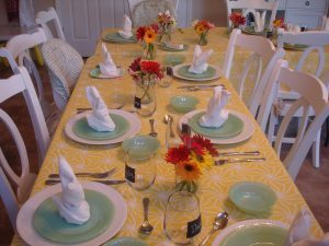 Table all set up for family dinner.