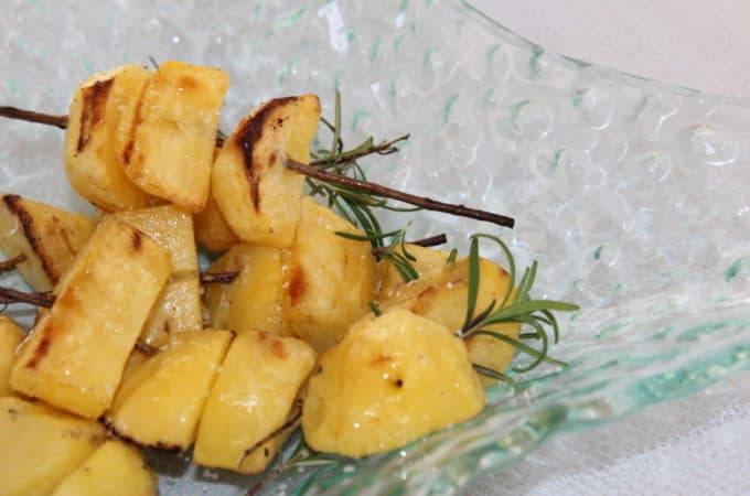 Grilled Rosemary Garlic Skewered Potatoes