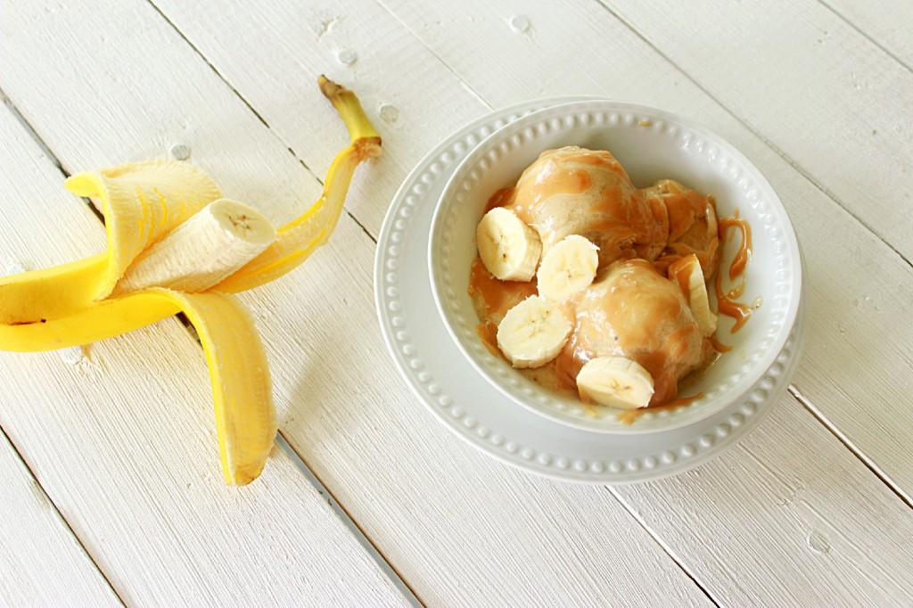 Banana Ice Cream and Honey Peanut Butter Sauce #banana #icecream #honey #peanutbutter #southernfood