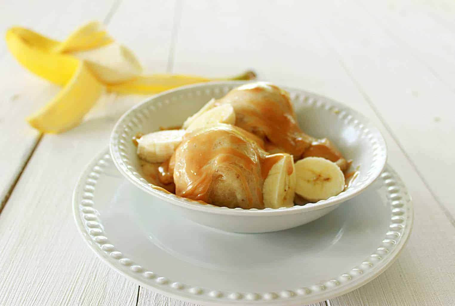 Banana Ice Cream with Honey Peanut Butter Sauce
