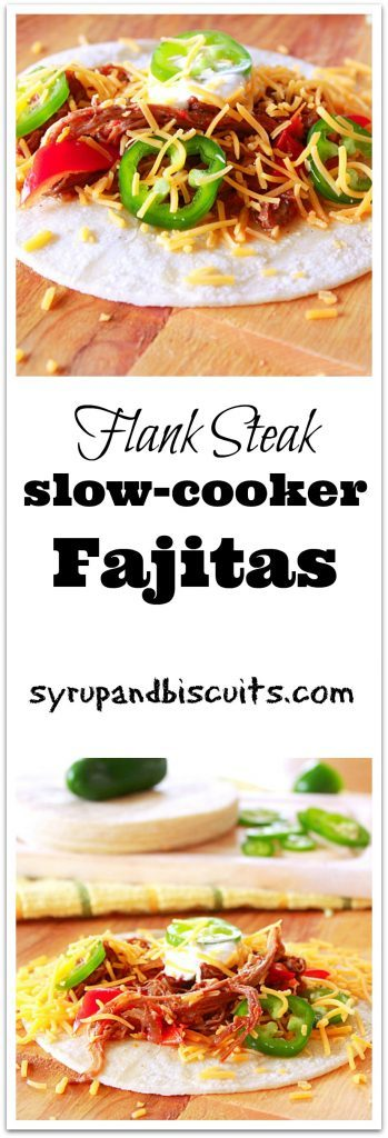 Flank Steak Slow-cooker Fajitas. An economical version of fajitas using flank steak in the slow-cooker.