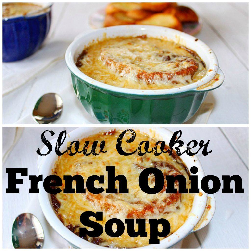 Slow cooker French Onion Soup. Made with onions caramelized overnight in the slow cooker. Beef stock, Worcestershire sauce and seasonings are added to the caramelized onions. Ladle the soup in bowls over toasted bread and top with cheese.