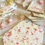 Peppermint Bark is an easy and elegant Christmas gift. It's a cinch to make with only four ingredients and contains layers of  semi-sweet and white chocolate. It's topped with crushed peppermint candy for a festive appearance.