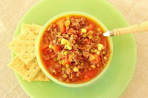School Lunchroom Hamburger Soup with Saltines