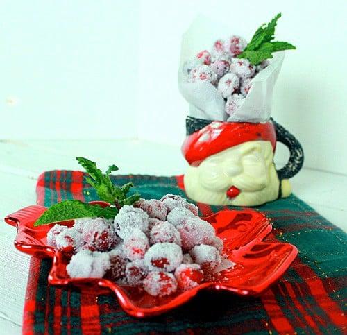 Sugared Cranberries with Santa