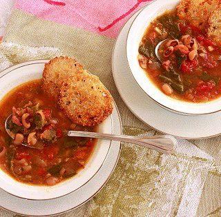 Black-eye pea and collard green soup