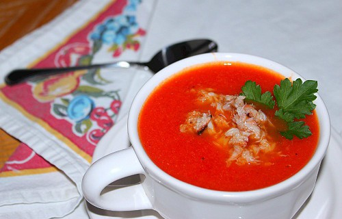 ... : Roasted Red Pepper and Tomato Soup with Crab) | Syrup and Biscuits