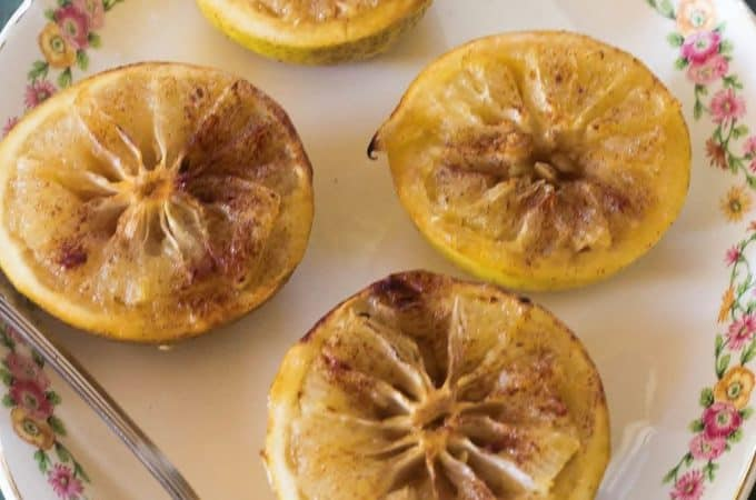 Hot Toddy Baked Grapefruit. Fresh grapefruit baked with rum, honey, brown sugar and cinnamon.