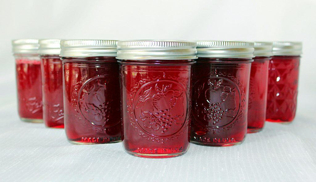 Muscadine Jelly in jars.