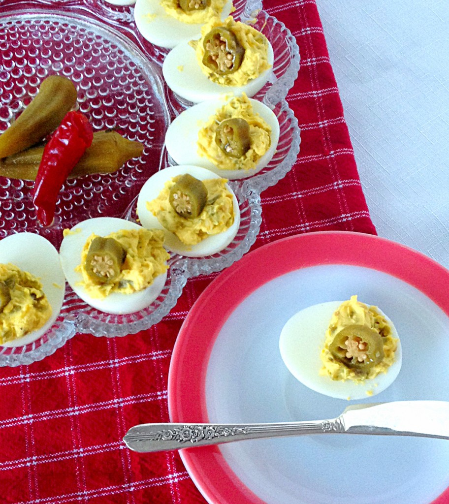 Pickled Okra Deviled Eggs ~ Syrup and Biscuits