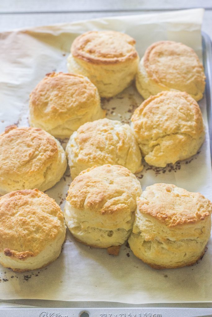 Three Ingredient High Rise Buttermilk Biscuits on baking sheet.