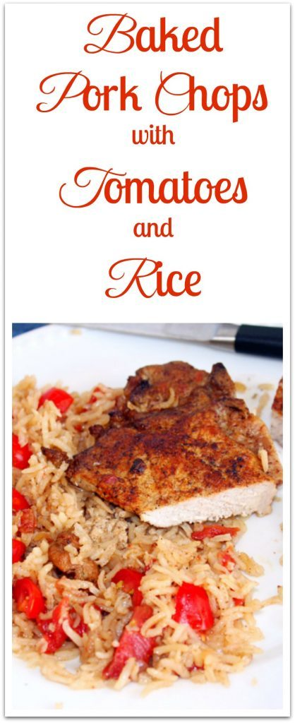 Baked Pork Chops with Tomatoes and Rice on plate.