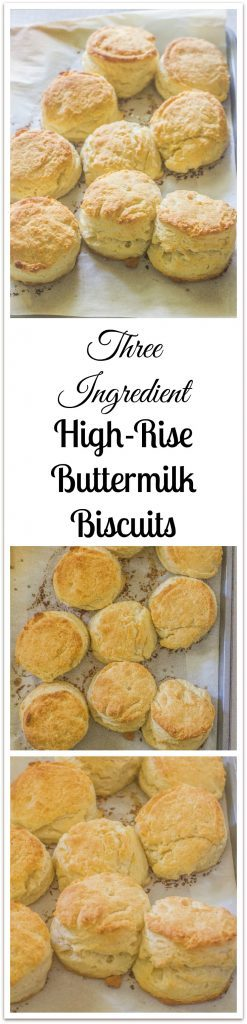 Three Ingredient High Rise Buttermilk Biscuits on baking sheet