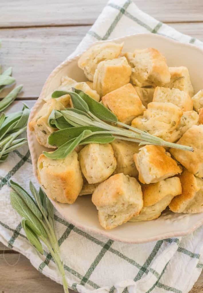Sage Onion Biscuits in a bowl.