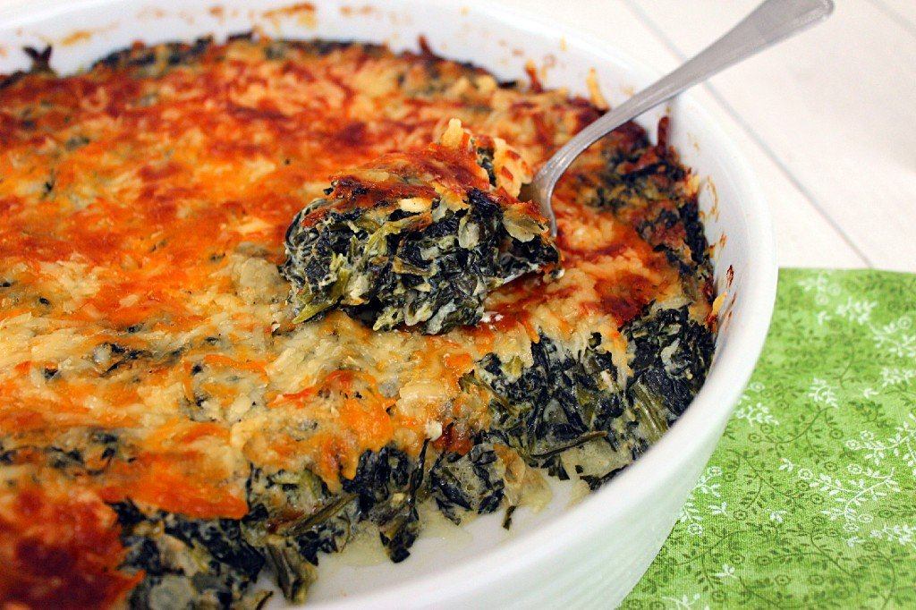Cheesy Creamed Spinach Casserole . A spinach and cream cheese filling topped with two kinds of cheese.