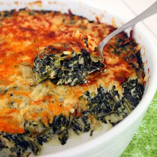 cheesy creamed spinach in a bowl.