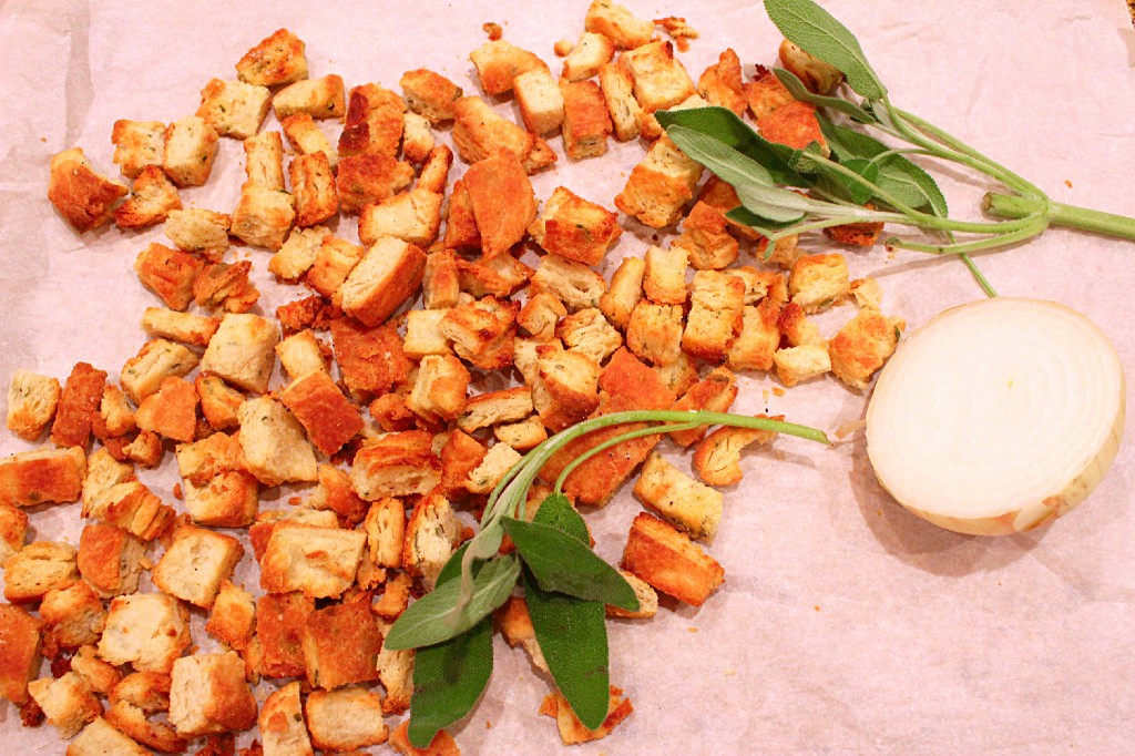 Sage and Onion Biscuit Croutons