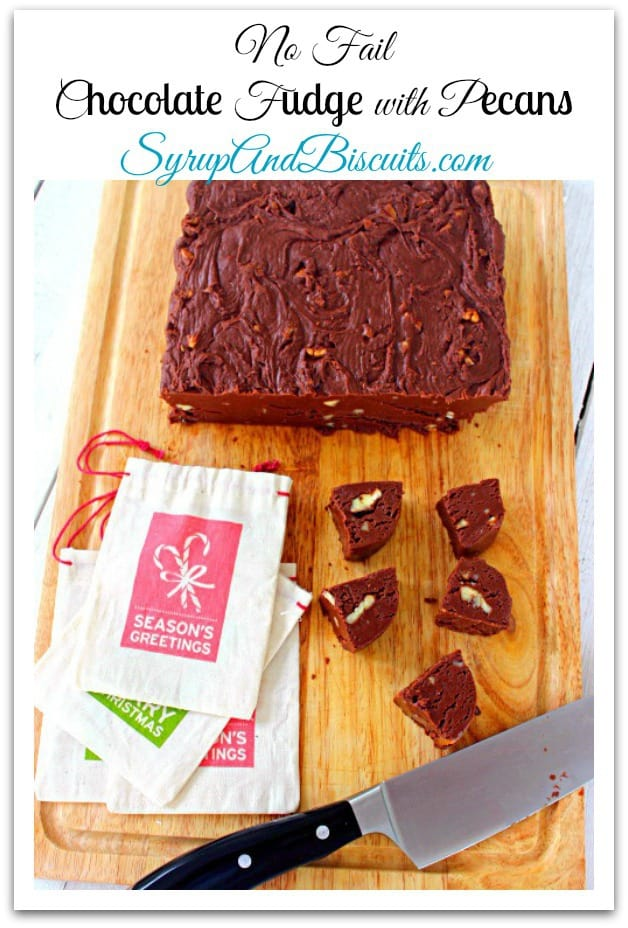 Chocolate Fudge with Pecans. A no-fail recipe tested for over 40 years in my kitchen and never a failed batch.