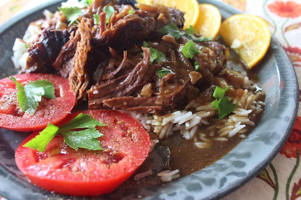 Pot Roast and Onion Gravy. Beef roast slow simmered in onion gravy. #beef #potroast #southernfood #onion #gravy
