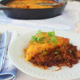 Peachy BBQ Chicken and Cornbread Skillet