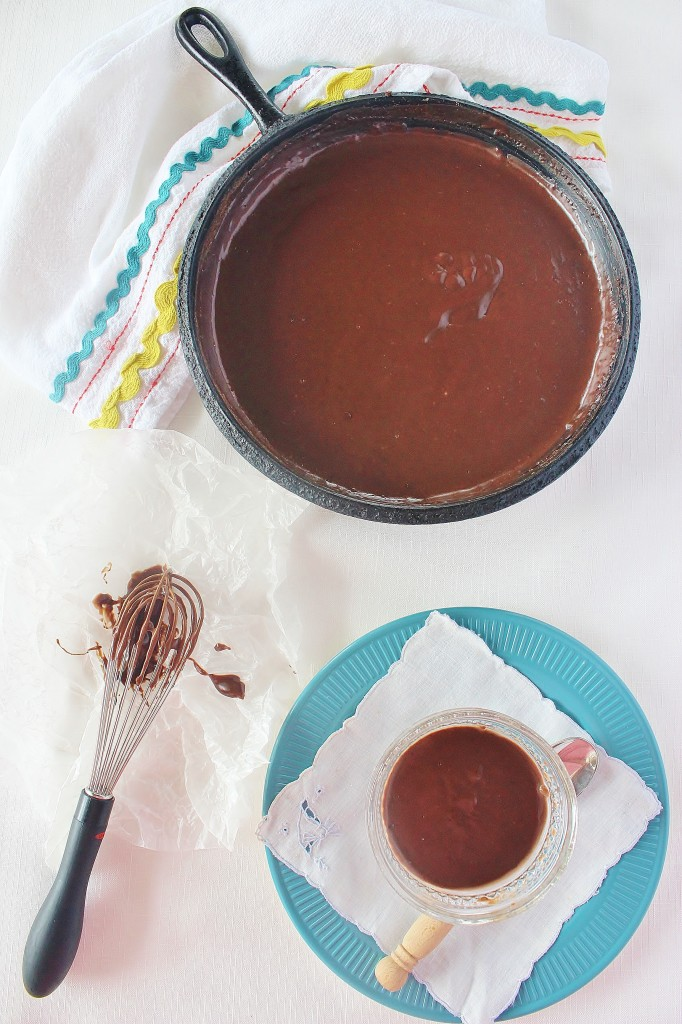 Warm Skillet Chocolate Pudding. It cooks up quickly and gets eaten quickly. Some folks like to serve it over biscuits. ~ Syrup and Biscuits