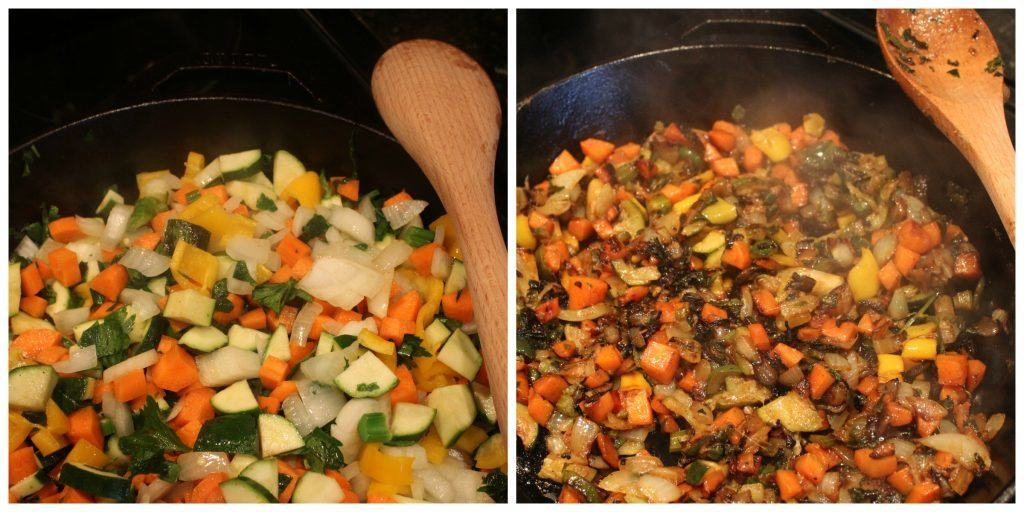 raw veggies on the left. Veggies sauteed for 25 minutes on the right.